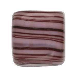 GB284-1 Indian glass lamp bead, stripey square - lilac
