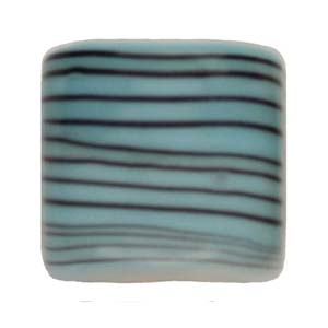 GB284-2 Indian glass lamp bead, stripey square - aqua