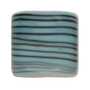 GB284-2Indian glass lamp bead, stripey square - aqua