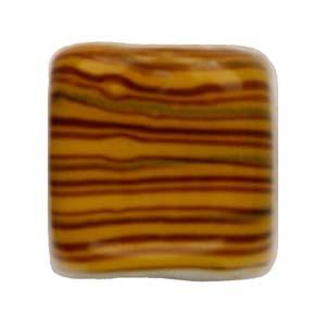 GB284-3Indian glass lamp bead, stripey square - topaz
