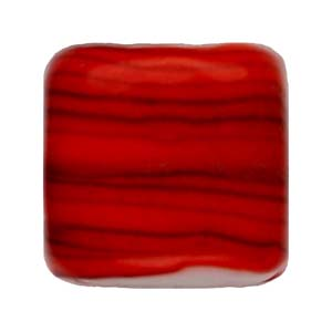 GB284-4 Indian glass lamp bead, stripey square - red