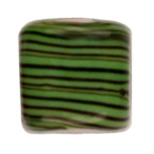 GB284-5Indian glass lamp bead, stripey square - green