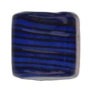 GB284-6Indian glass lamp bead, stripey square - royal