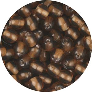 GB3-19 round pressed glass beads - smoked topaz
