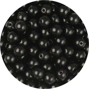 GB3-6 round pressed glass beads - jet