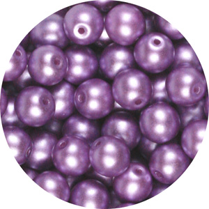 GB10-332 round pressed glass beads - pastel lila