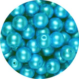GB10-333 round pressed glass beads - pastel aqua
