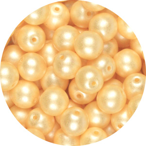 GB10-338 round pressed glass beads - pastel cream