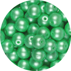 GB10-341 round pressed glass beads - pastel light green