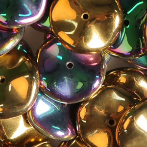 GBRPL-220 Czech ripple beads - crystal California green