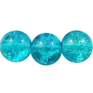 GCB08-12 glass crackle beads - aqua