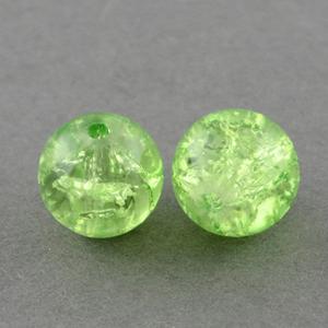 GCB08-9 glass crackle beads - peridot