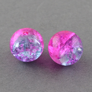 GCB08-T3 glass crackle beads - fuchsia/lilac