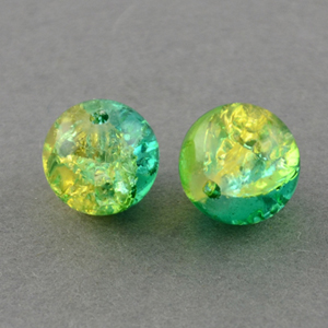 GCB08-T4 glass crackle beads - peridot/green turquoise
