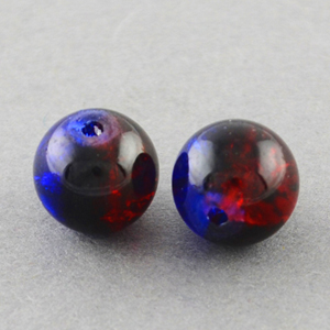 GCB10-T5 glass crackle beads - royal blue/red