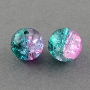 GCB10-T6 glass crackle beads - pink/green turquoise