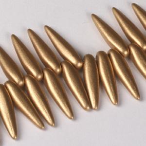 GP7-111 Czech pressed glass thorn beads - gold metallic