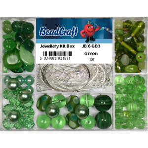 JBX-GB3 glass bead jewellery kit box - green