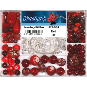 JBX-GB4 glass bead jewellery kit box - red