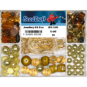 JBX-GB5 glass bead jewellery kit box - gold