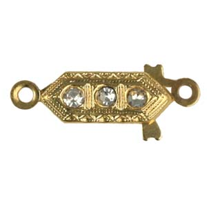 JF151-1&nbsp;1 row diamante clasp gilt plated
