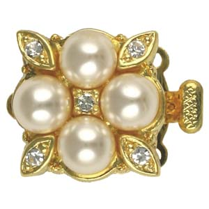 JF156-1 - 3 row glass pearl & diamante clasp gilt plated