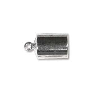 JF190-2 Kumihimo findings - barrel end cap, silver