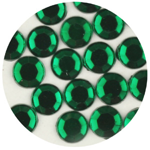 JS15A 9 4.5mm flat back round - half machine cut - emerald