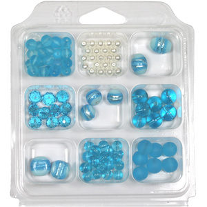 SBX-GB-SF3 Glass bead selection box with silver foiled lamp beads - aqua
