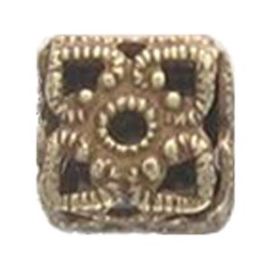 M36-3 - hollow filigree square bead - antique gold