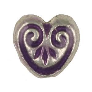 MEBE1-1enamelled metal heart - purple