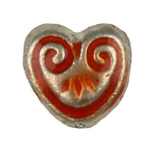 MEBE1-2 enamelled metal heart - red