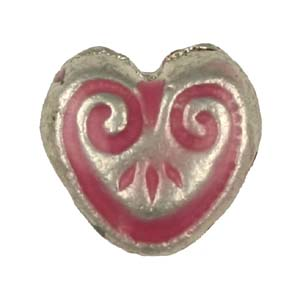 MEBE1-3 enamelled metal heart - pink