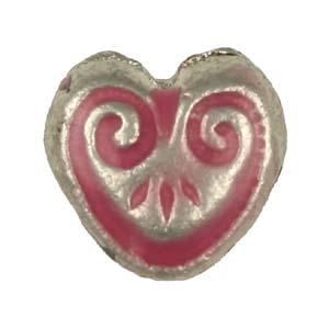MEBE1-3enamelled metal heart - pink