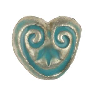 MEBE1-4 enamelled metal heart - aqua