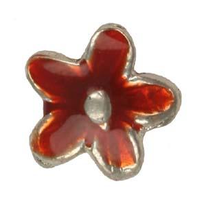 MEBE2-2enamelled metal flower - red