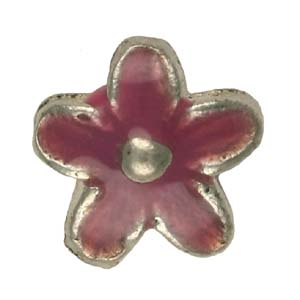 MEBE2-3 enamelled metal flower - pink