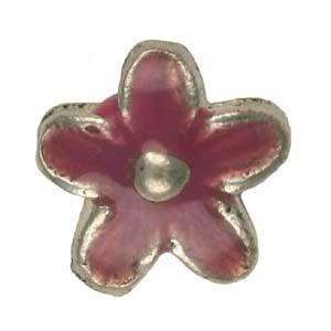 MEBE2-3enamelled metal flower - pink