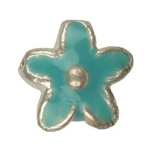 MEBE2-4enamelled metal flower - aqua
