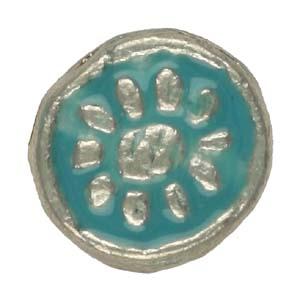 MEBE3-4enamelled metal flat round - aqua