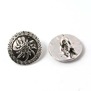 MEC56 round metal shank buttons - antique silver