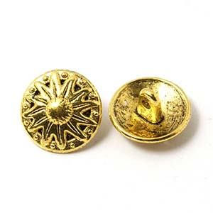 MEC57-1 round metal shank buttons - antique gold