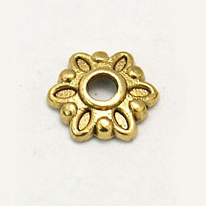 MEC70-1 flower bead caps - gold