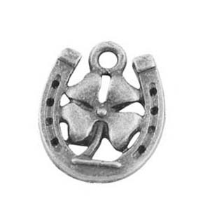 MEP74 lucky horseshoe & 4 leaf clover charm/pendant