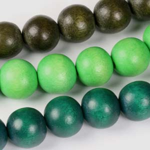 MS-DWR6 Multi-string: round wooden beads - mixed colours