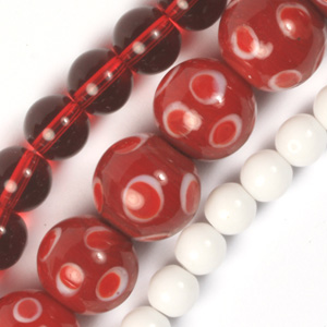 MS-GB276-5 Multi-string: Indian spotted round glass lamp bead & pressed glass beads - red