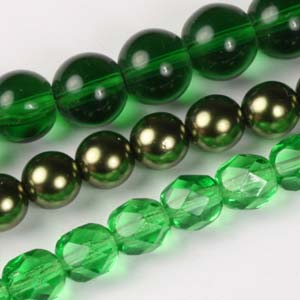 MS-GBM1-10 Multi-string: glass pearls, fire-polished & Indian pressed glass beads - emerald