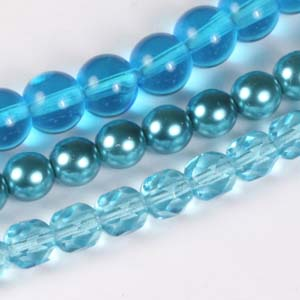 MS-GBM1-12 Multi-string: glass pearls, fire-polished & Indian pressed glass beads - aquamarine