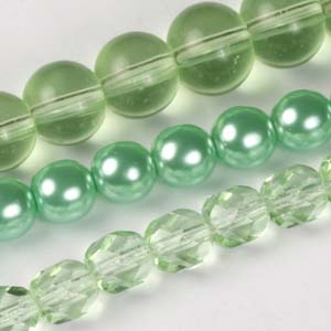 MS-GBM1-14 Multi-string: glass pearls, fire-polished & Indian pressed glass beads - peridot
