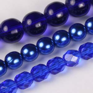 MS-GBM1-7 Multi-string: glass pearls, fire-polished & Indian pressed glass beads - royal blue